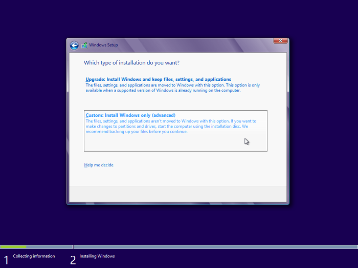 windows 8 custom installation