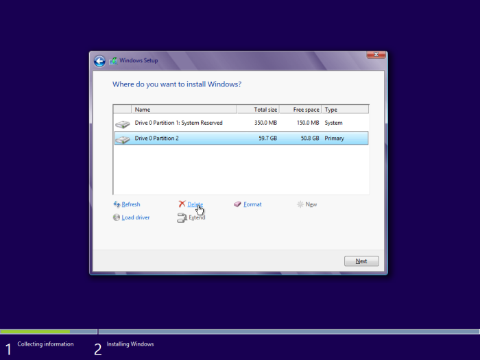 windows 8 installation delete partition