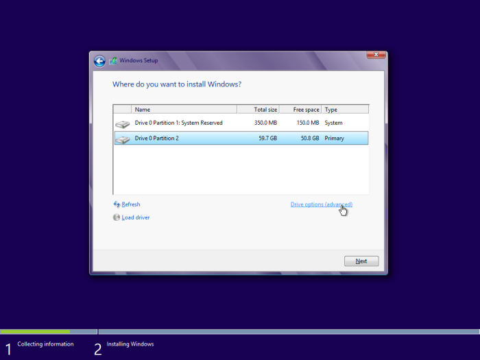 windows 8 installation drive options