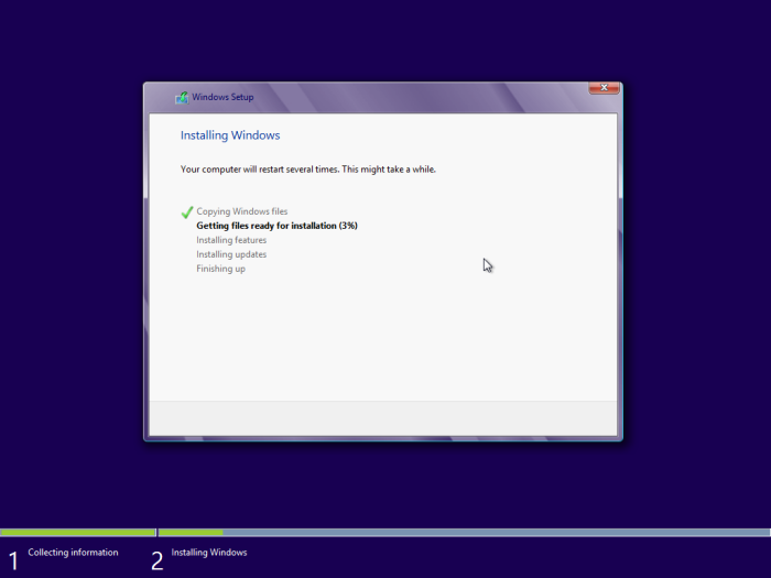 windows 8 installation starts